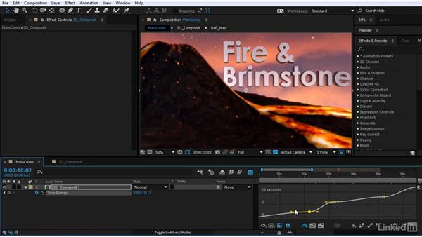 Time remapping the scene: After Effects Motion Graphics: Creating Fire and Brimstone Type Animation