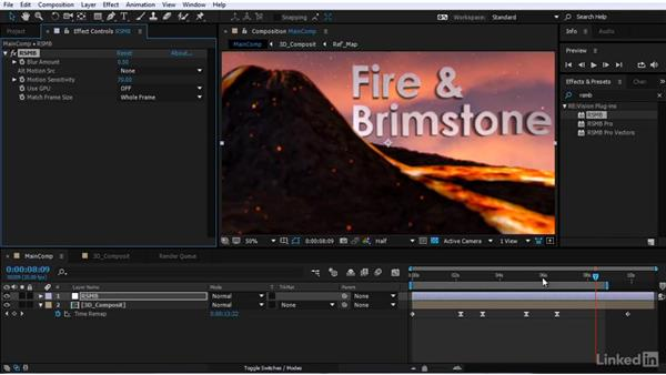 Adding motion blur to the scene: After Effects Motion Graphics: Creating Fire and Brimstone Type Animation