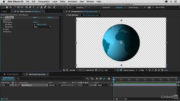 Creating a flat-look globe animation: After Effects Breakdowns - Social Tech Infographics