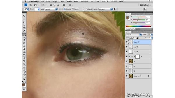 Cleaning up details around the eye: Photoshop CS4 Retouching: Fashion Photography Projects