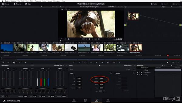 The sizing menu: Input vs. edit sizing: DaVinci Resolve 12 Advanced Color Grading