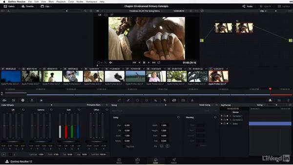 The sizing menu: Node sizing: DaVinci Resolve 12 Advanced Color Grading