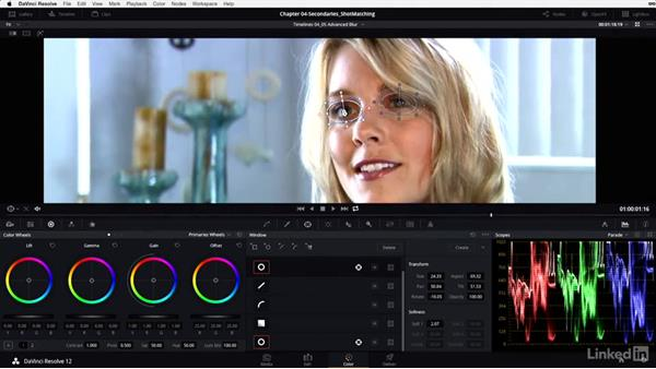 Combining power windows with blur and sharpening: DaVinci Resolve 12 Advanced Color Grading