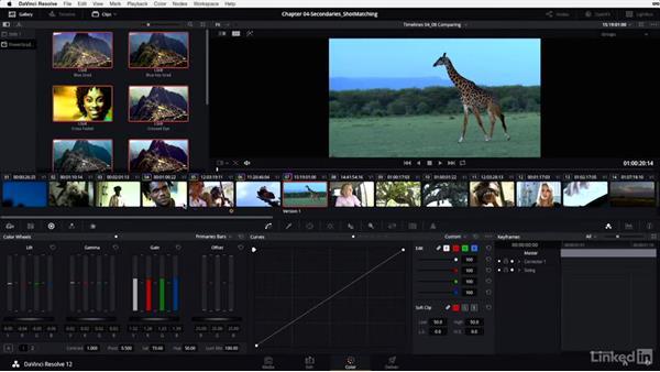 Comparing shots: Split-screen versions and groups: DaVinci Resolve 12 Advanced Color Grading