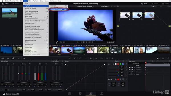 HSL keyer: Split-screen view and Highlight modes: DaVinci Resolve 12 Advanced Color Grading