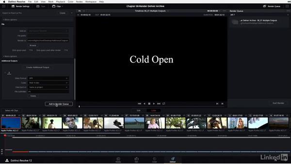 Rendering multiple outputs: DaVinci Resolve 12 Advanced Color Grading