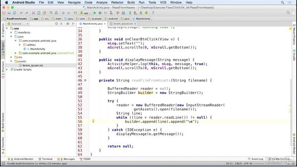 Read text files from assets: Java Design Patterns and APIs for Android