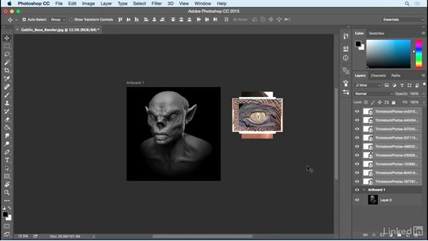 The workspace: Photoshop: Create a Goblin Using Textures and Compositing