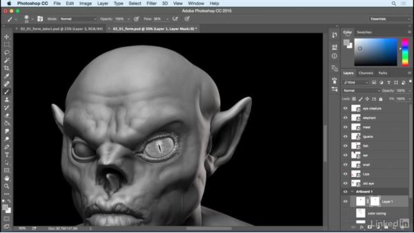 Create illusion of form with the eyes: Photoshop: Create a Goblin Using Textures and Compositing