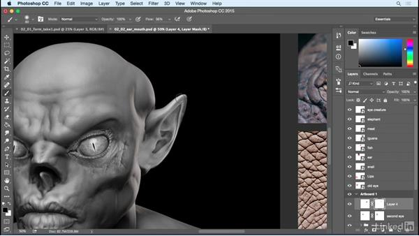 Composite the ears and mouth: Photoshop: Create a Goblin Using Textures and Compositing
