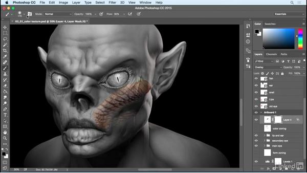 Primary color textures: Photoshop: Create a Goblin Using Textures and Compositing