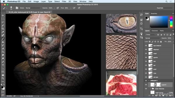 Final texture wrap: Photoshop: Create a Goblin Using Textures and Compositing