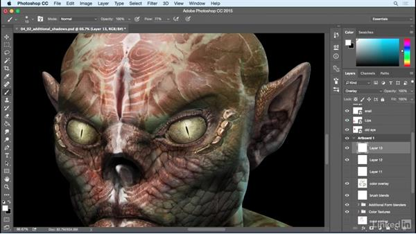 Add additional shadows and highlights: Photoshop: Create a Goblin Using Textures and Compositing