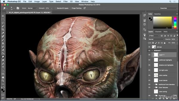 Extra details and digital painting: Photoshop: Create a Goblin Using Textures and Compositing