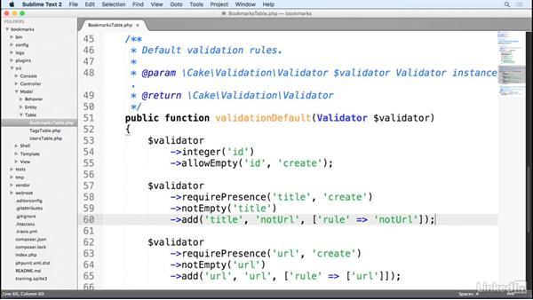 Create custom validation: Learn CakePHP 3: The Basics