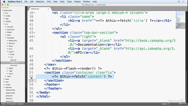 View layouts: Learn CakePHP 3: The Basics
