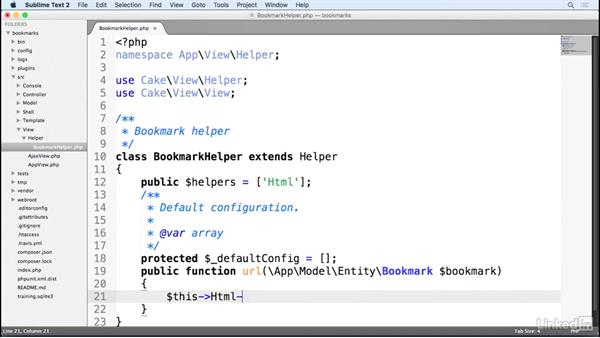Creating and using a custom helper: Learn CakePHP 3: The Basics
