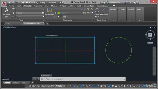 Creating center marks and centerlines: AutoCAD 2017 New Features