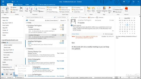 Navigate between Outlook apps: Time Management with Outlook 2016 Calendar and Tasks