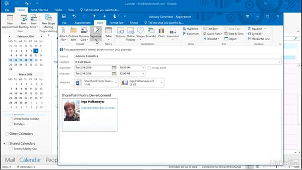 Include files or other content in an appointment: Time Management with Outlook 2016 Calendar and Tasks