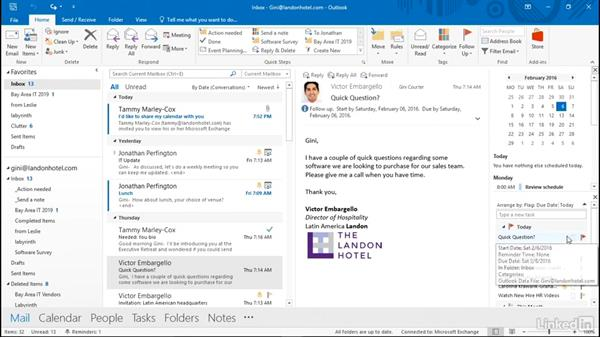 Work with tasks, to-do items, and the task list: Time Management with Outlook 2016 Calendar and Tasks