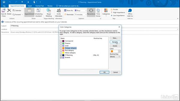Apply and remove categories: Time Management with Outlook 2016 Calendar and Tasks