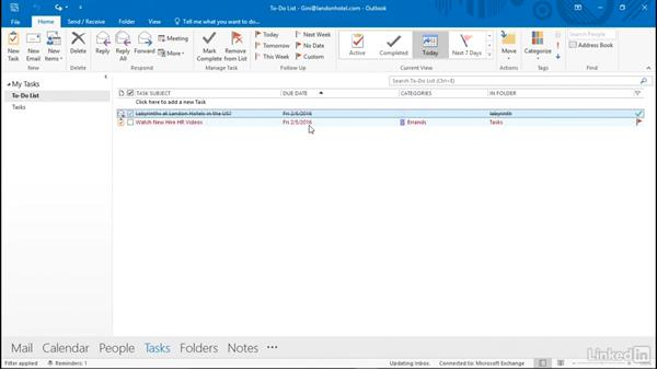 View the task list and to-do list: Time Management with Outlook 2016 Calendar and Tasks