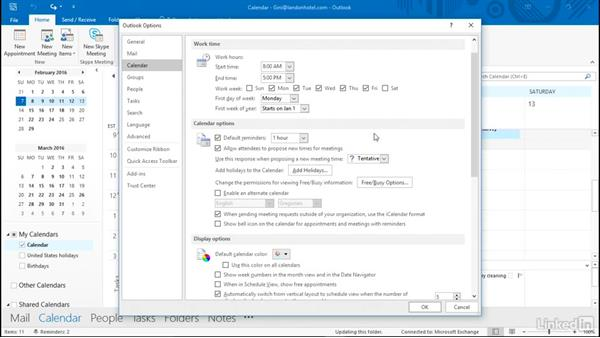 Set calendar options: Time Management with Outlook 2016 Calendar and Tasks