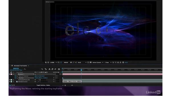 Keyframing the move: After Effects Apprentice 18: 3D Text CINEMA 4D Lite