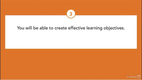 Review the learning objectives for this course: Write Effective Learning Objectives