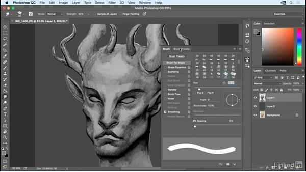 Add gray shades and smudging: Photoshop: Create a Satyr Using Layer Styles