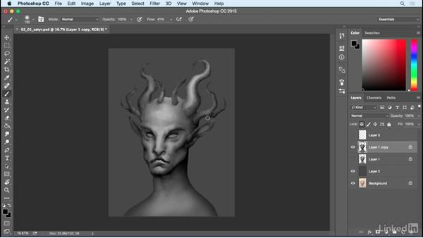 Primary highlights and shadows: Photoshop: Create a Satyr Using Layer Styles