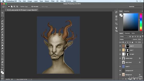 Add color overlays: Photoshop: Create a Satyr Using Layer Styles
