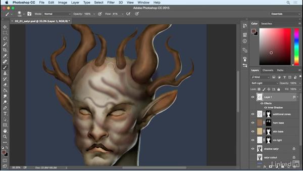 Secondary forms and larger wrinkles: Photoshop: Create a Satyr Using Layer Styles