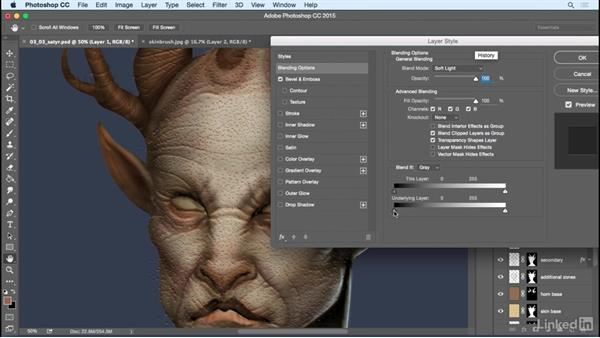 Add high-frequency details: Photoshop: Create a Satyr Using Layer Styles