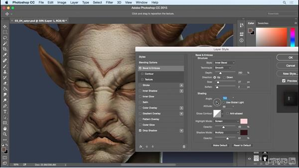 Add scars and tribal designs: Photoshop: Create a Satyr Using Layer Styles