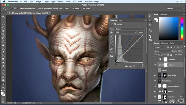 Color correction and final overlays: Photoshop: Create a Satyr Using Layer Styles