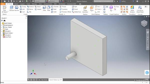 Sketch-driven pattern: Autodesk Inventor 2017 New Features