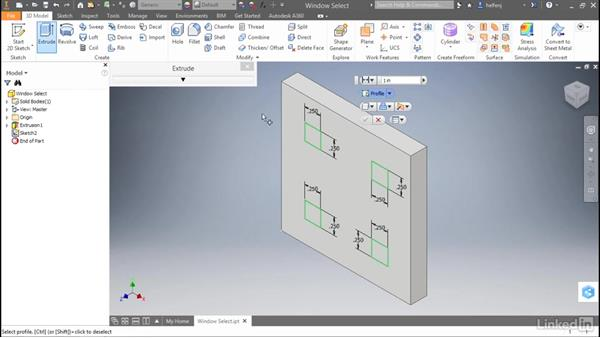 Window select profiles: Autodesk Inventor 2017 New Features
