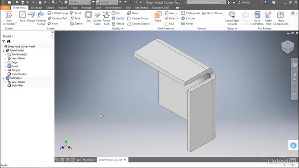 Sheet metal: Corner relief options: Autodesk Inventor 2017 New Features