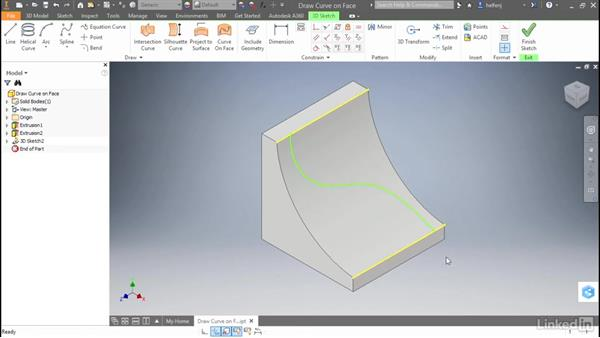 Draw curves directly on a face: Autodesk Inventor 2017 New Features