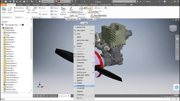 Make components transparent: Autodesk Inventor 2017 New Features