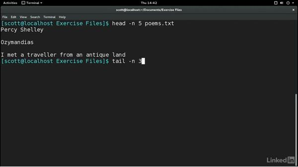 Peek at files with cat, head, tail, and less: Learn the Linux Command Line: The Basics