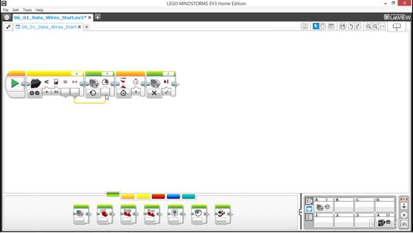 Use data wires to transfer data: Lego Mindstorms: Open the Box