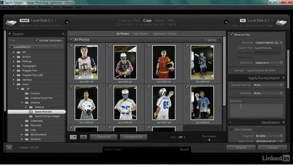 Importing and adding metadata from the shoot: Shooting Awesome Sports Portraits