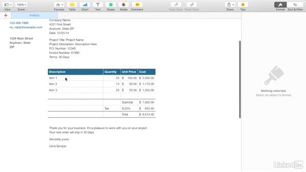 Creating an invoice with Apple's Pages: Budgeting Video Projects