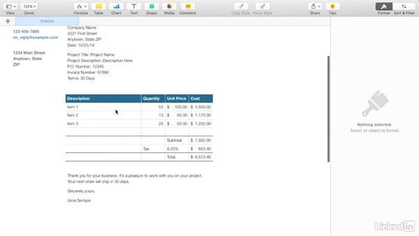 creating an invoice with apple's pages, Invoice templates