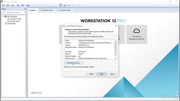 Set up Windows XP as guest: Learn VMware Workstation Pro 12: The Basics