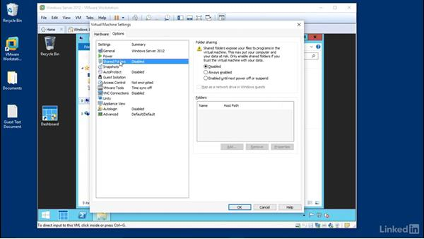 Set up file sharing: Learn VMware Workstation Pro 12: The Basics