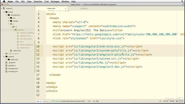 Setting up our template: Learn AngularJS 2: The Basics